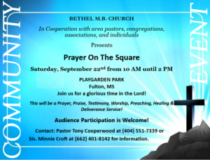 Prayer on the Square @ Playgarden Park   Fulton   Mississippi   United States